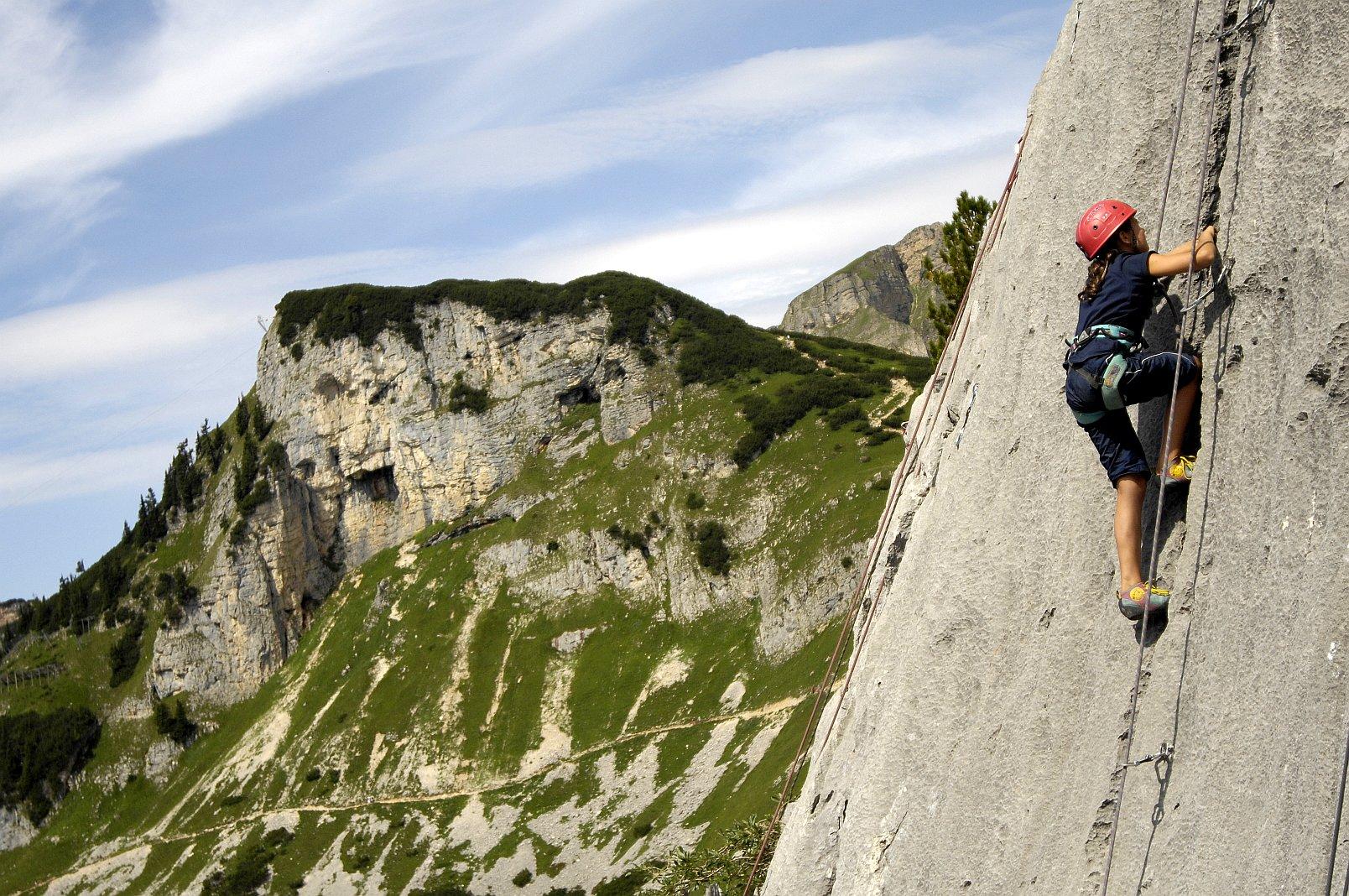 Familienklettern im Klettergarten Grubastiege, Foto: Sepp Rettenbacher | Climbers Paradise