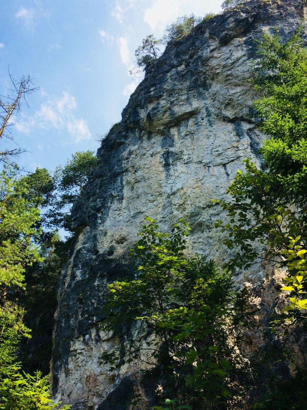 Klettergarten Klobental Frontansicht der dicken Schuppe | Climbers Paradise