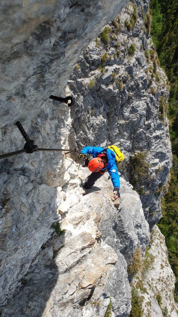 In einer ausgesetzen Passage, Foto: Klaus Kranebitter | Climbers Paradise