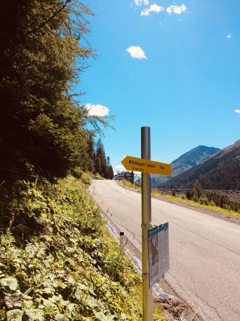 Hinweisschild zum Klettergarten Gailwand | Climbers Paradise