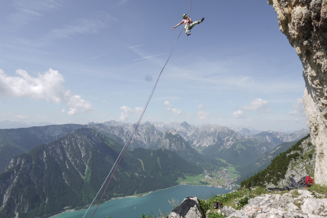 Rofan Achensee Klettern Rotspitz. Foto: Simon Schöpf