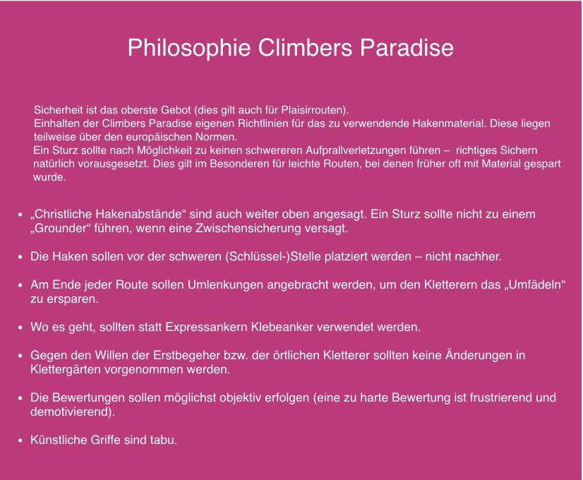 Mike Gabl, Philosophie Climbers Paradise | Climbers Paradise