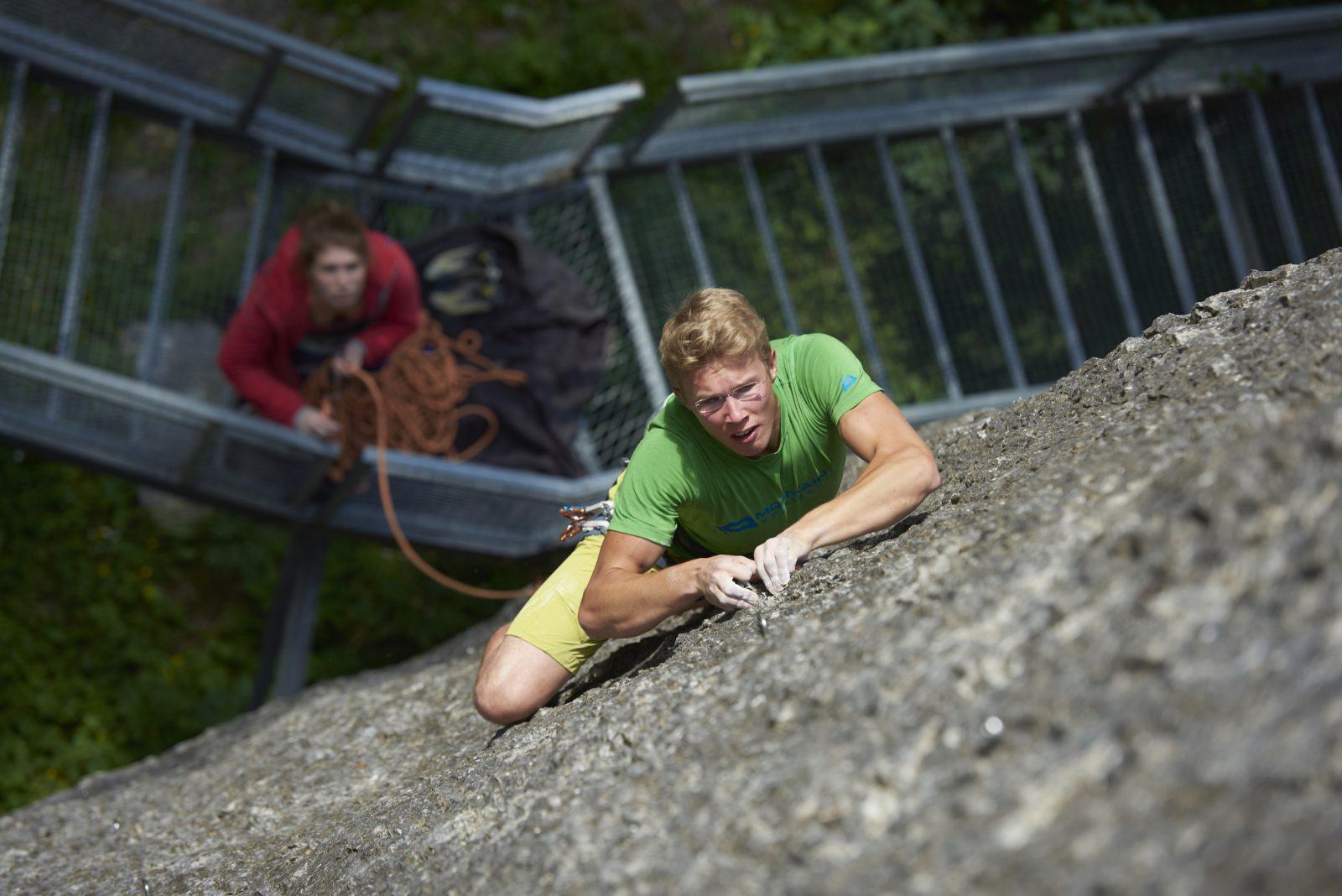 Sportklettern in der Schnanner Klamm bei St. Anton am Arlberg. Foto: Michael Meisl | Climbers Paradise