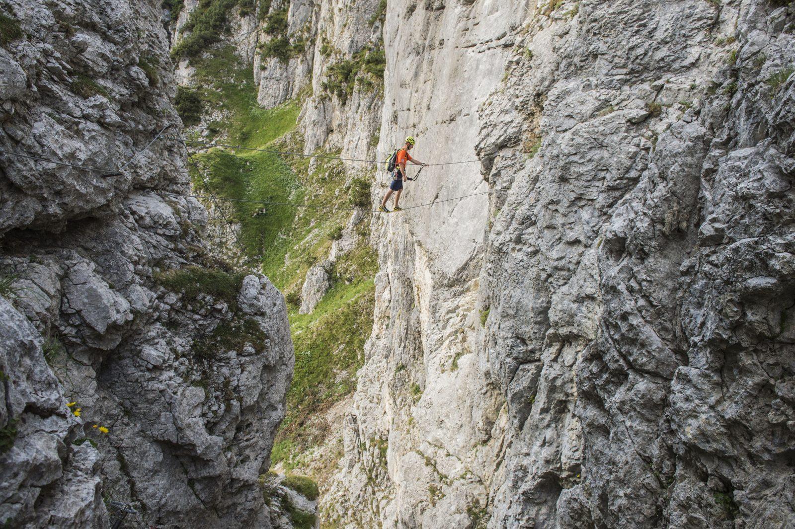 Hängebrücke im Klamml Klettersteig, Foto: Peter von Felbert | Climbers Paradise