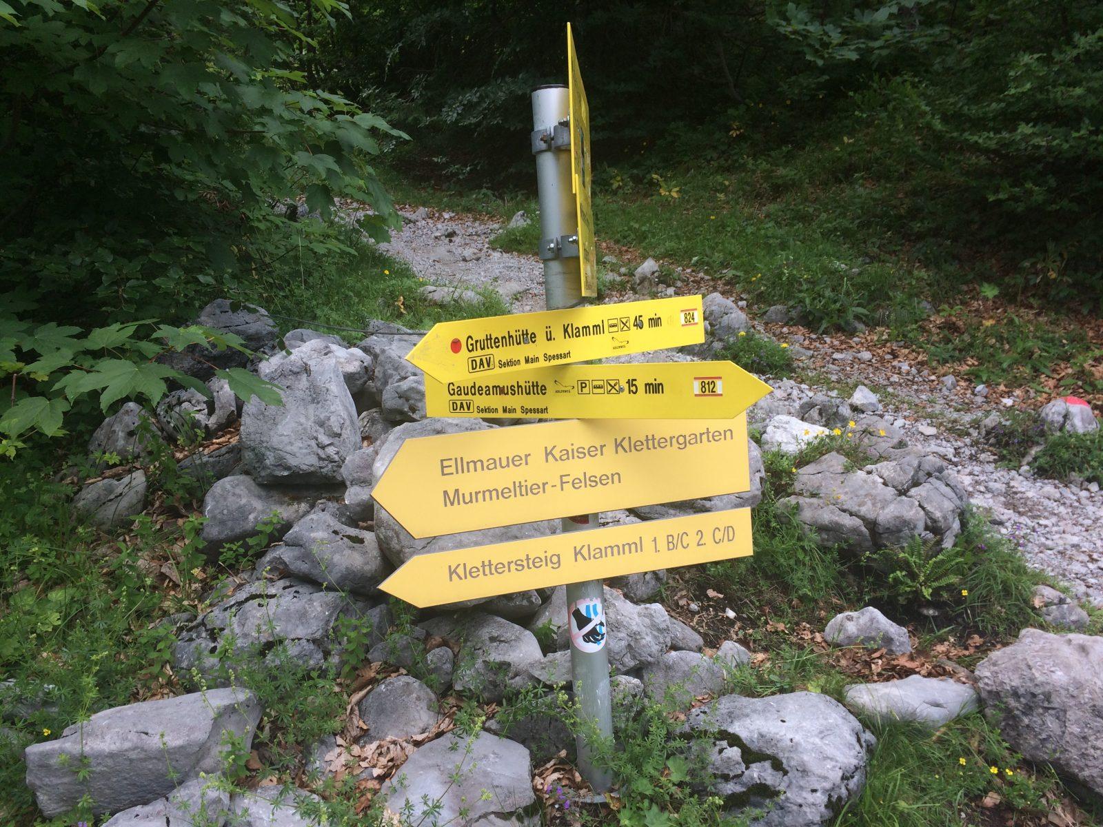Wegweiser zum Klamml-Klettersteig, Foto: Susa Schreiner | Climbers Paradise