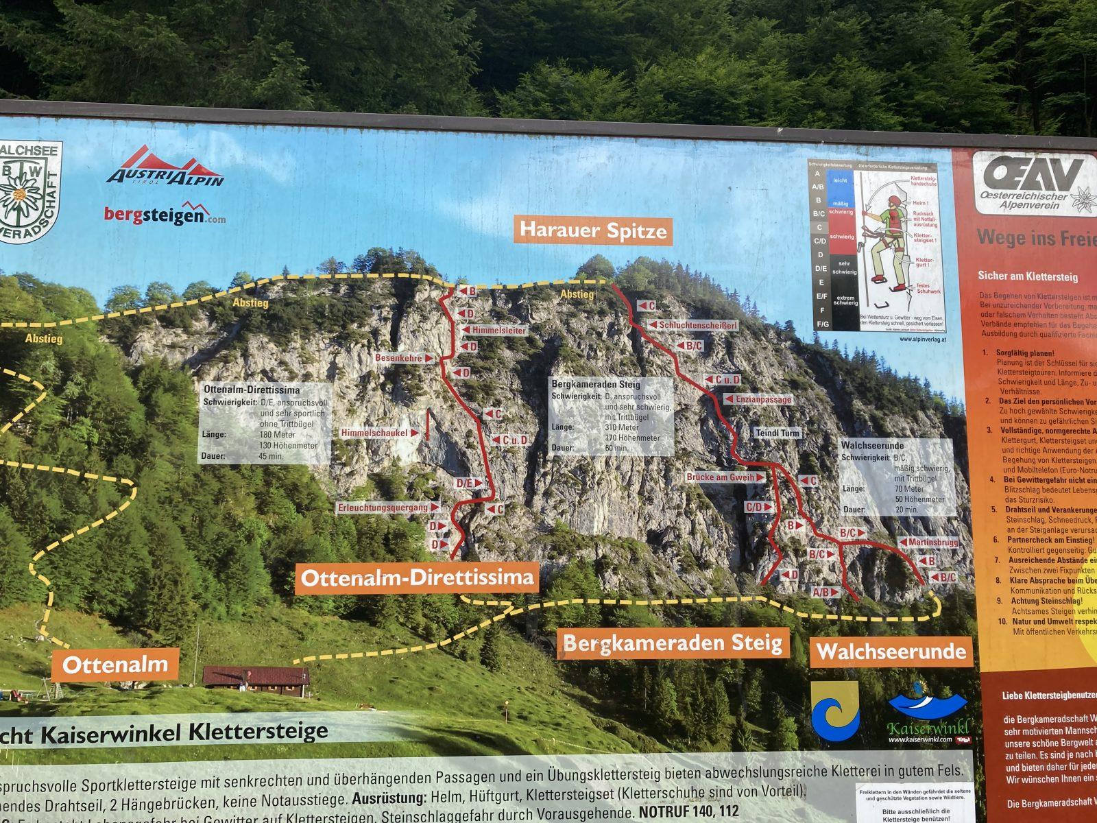 Beschilderung beim Einstieg in die Kletterarena, Foto: Susa Schreiner Climbers Paradise