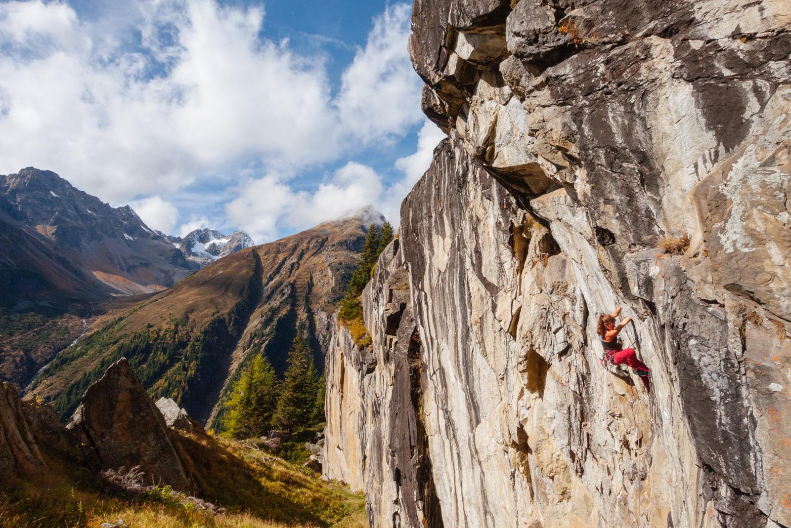 Klettern im Hexenkessel über Plangeross im Pitztal, Foto: Simon Schöpf