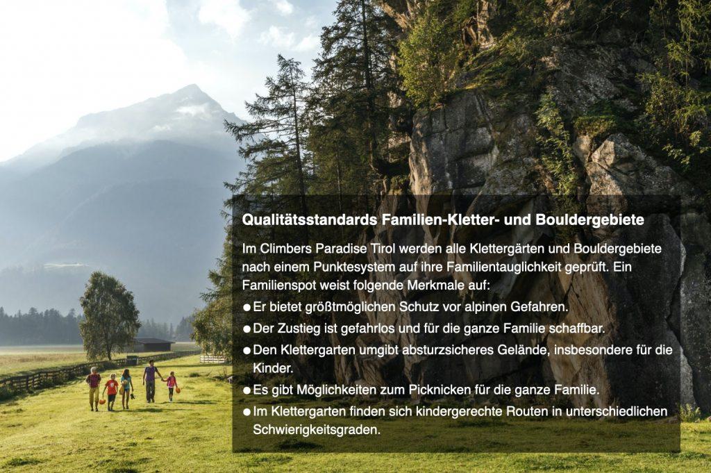 Qualitätsstandards Familienklettergebiete, Foto: Tirol Werbung I Climbers Paradise