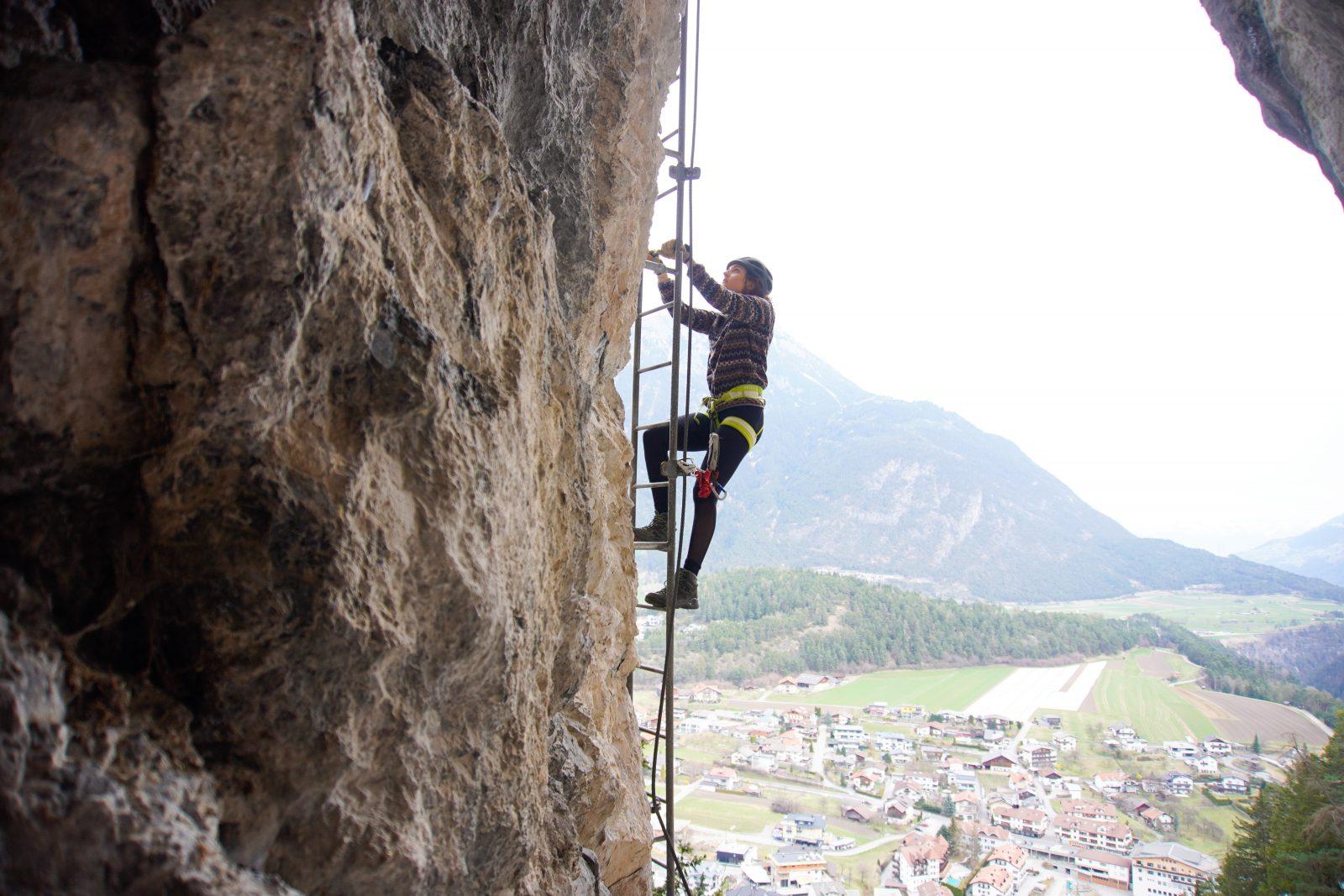 Steinwand Klettersteig - Leiter, Foto: Benjamin Zörer I Climbers Paradise