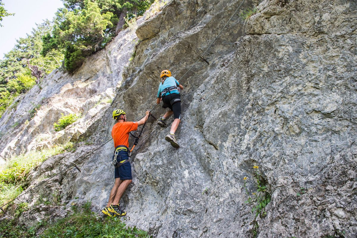 Am Übungsklettersteig Wilder Kaiser, Foto: Peter von Felbert I Climbers Paradise