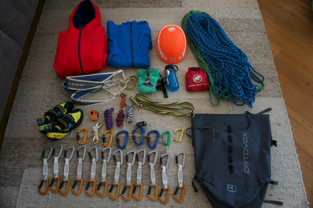 Ausrüstung Mehrseillängentour, Foto: Matthias Bader I Climbers Paradise