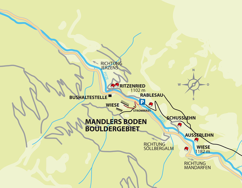 Pitztal Karte.Mandlers Boden Bouldering Pitztal