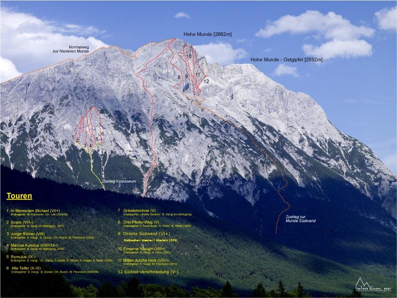 Die Hohe Munde und ihr Routennetz. Foto: Climbers Paradise